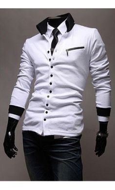 Men's Collared Contrast Cardigan - Restocked in white and black