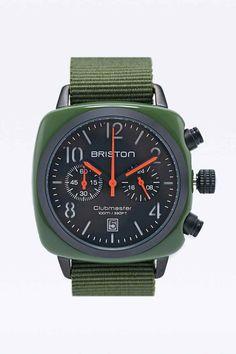 Briston Chrono Date Matte Watch in Green