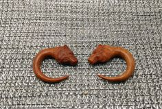 Pair of Arang Wood Double Flared Bear Claw Plugs