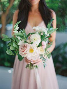 Glamorous eucalyptus, pink and white wedding bouquet: http://www.stylemepretty.com/2016/09/23/london-west-hollywood-rooftop-wedding/ Photography: Carmen Santorelli - http://carmensantorellistudio.com/