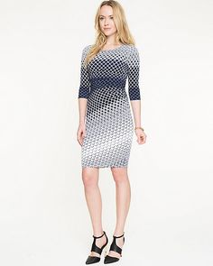 Diamond Print Knit Boat Neck Dress - Discover a love of prints with this stylish diamond printed knit dress.