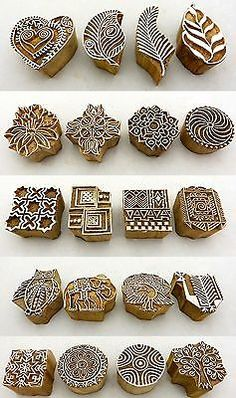 Hand Carved Wooden Block Printed Indian Stamps - Wood Printing Stamping Supplies in Stamps | eBay