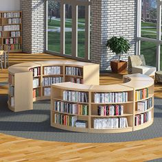 Russwood® Curved Wood Library Shelving - Home Professional Decoration Library Store, Library Cafe, Library Shelves, Modern Library, Bookstore Design, Library Design, Home Office Design, Study Design, Library Ideas
