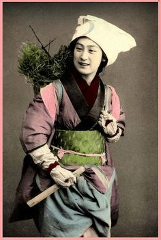 Although it is over 100 years old, the KAMA (scythe) that she holds in her hand can be found today in any Japanese garden shop or hardware store -- in the exact material, shape, and dimensions that you see here.