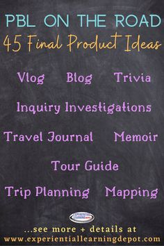 There are so many interesting ways to use project-based learning to enhance educational travel experiences. This blog posts includes 45 innovative final product ideas with tricks, tips, and resources for seamless implementation. #projectbasedlearning Problem Based Learning, Project Based Learning, Teaching Strategies, Learning Activities, Experiential Learning, Product Ideas, Student Work, Trip Planning, Child