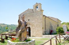 Statue of Pope Giovanni Paolo II in San Pietro della Ienca, Abruzzo, Italy Santo Stefano di Sessanio, Abruzzo, Italy  #Italy #diffusehotel #specialhotel #wonderfulplaces #wonderfulplaces #amazingview #bestofItaly