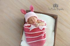Crochet Winne the Pooh's PIGLET Hat and Cocoon by AngelCorner2012, $26.00