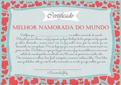Certificado melhor namorado/ namorada/ noivo/ marido e esposa do mundo. Versões hétero e homo.