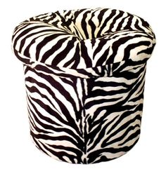 "Zebra Pillow Top Ottoman  Exotic Animal Print Pillow Top Ottoman in a fabulous Faux Fur.  Removable Button Gathered Pillow Top, for fluffing and spot cleaning. Wonderful addition to any decor or room.  Spot Clean Only.    Approximately: Diameter 17"", Height 19¼"".  $220.00  SALE $200.00"