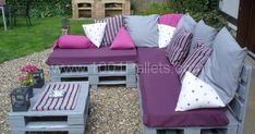 Image result for lilac and grey garden pallet furniture