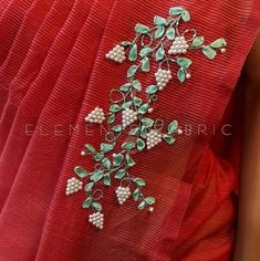 Hand Embroidery Design Patterns, Saree Embroidery Design, Abstract Embroidery, Embroidery On Kurtis, Pearl Embroidery, Hand Embroidery Flowers, Hand Work Embroidery, Silk Ribbon Embroidery, Beaded Flowers Patterns