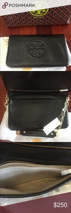 NWT Tory Burch Bombe Reva Black Clutch Purse Authentic Gorgeous NWT Great gift! Tory Burch Bags Clutches & Wristlets
