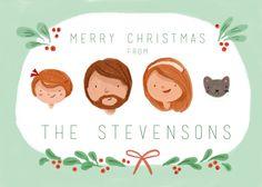 Custom Illustrated Family Portrait Christmas by kathrynselbert, $55.00