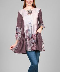 Loving this Plum & Gray Floral Abstract Swing Tunic - Plus on #zulily! #zulilyfinds