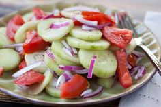 Marinated Cucumber Salad with tomatoes and onions #easy #vegetarian #side