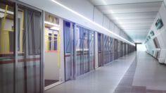 Public transport. Visualization of a futuristic subway in Vienna.