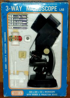 Vintage Microscope Japan 1970's 3 Way Scope & Original Box by MountainViewVintage on Etsy