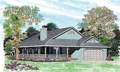 House Plan 95252 | Country    Plan with 1646 Sq. Ft., 3 Bedrooms, 2 Bathrooms, 2 Car Garage, add 1/2 bath...maybe by moving w/d to curb in garage