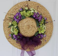 Spring wreath, Hat door decoration, hat door wreath, outdoor door wreath, spring hat wreath, Mother's Day gift, floral hat wreath, wreath by ritzywreaths on Etsy