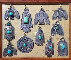 Vintage Native American sterling silver and turquoise pendants and brooches…