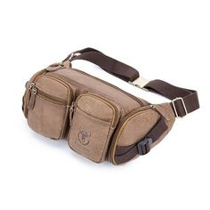 Men Casual Vintage Frosted Genuine Leather Multi-Pocket Waist Bag is worth buying - NewChic Mobile