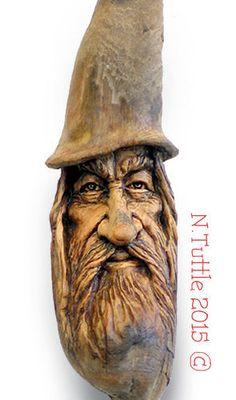 ORIGINAL-WOOD-CARVING-TREE-SPIRIT-MINI-WIZARD-MAGICAL-SORCERER-OOAK-NANCY-TUTTLE