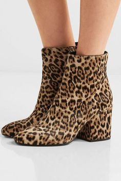 Heel measures approxiamtely 75mm/ 3 inches Leopard-print calf hair  Zip fastening along side ImportedLarge to size. See Size & Fit notes.