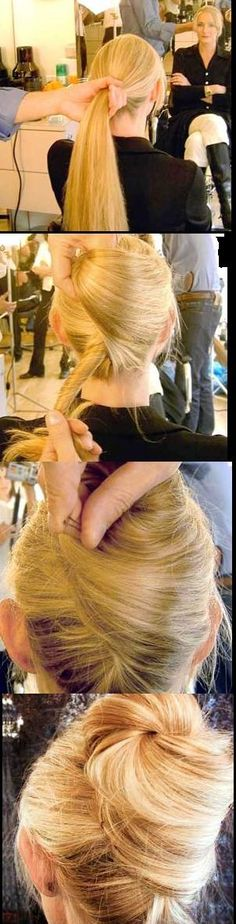 Alternative to a typical French twist! Updo- top of head French twist Elegant Hairstyles, Pretty Hairstyles, Easy Hairstyles, Wedding Hairstyles, African Hairstyles, Bridesmaid Hair, Prom Hair, Hair Wedding, Bridesmaids