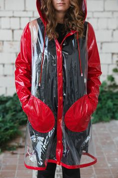 Etsy の Utopia Red clear raincoat by geuguce
