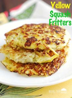 Low Carb Meals Yellow squash fritters make a tasty alternative to hash browns or potato pancakes. - These golden yellow squash fritters make a tasty, healthy alternative to hash browns or potato pancakes. They are delicious and healthy! Low Carb Recipes, Vegetarian Recipes, Cooking Recipes, Healthy Recipes, Cooks Country Recipes, Tapas Recipes, Cooking Rice, Healthy Food Blogs, Easy Recipes