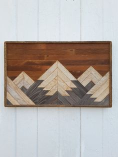Reclaimed Wood Wall Art  Small 5 Mountain Range by PastReclaimed