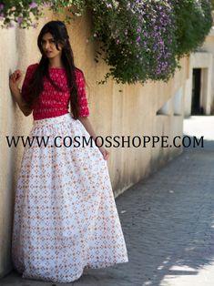 BUT THIS BEAUTIFUL RED & WHITE IKKAT LEHENGA @ WWW.COSMOSSHOPPE.COM