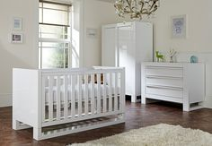 A white high gloss 3 piece nursery set from the Tutti Bambini Rimini collection. Includes a cot bed, a chest changer and a wardrobe with LED lights, for that added wow factor! Products can also be purchased individually. #childrensfunkyfurniture #nursery #cotbed #babies