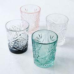 Decorated Hobstar Glassware (Set of 4) #westelm