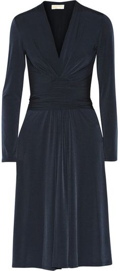 MICHAEL Michael Kors Wrap-effect stretch-jersey dress on shopstyle.com Navy blue is my best friend