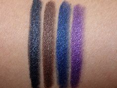 MAC Pearlglide Eye Liner swatches from the left in Black Swan, Lord It Up, Petrol Blue and Designer Purple Makeup And Beauty Blog, Fashion Beauty, Strobe Cream, Mac Makeup, Eye Liner, Black Swan, Daily Photo, Strobing, Mac Cosmetics