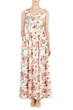 Watercolor florals pattern our crepe maxi dress styled with a sweetheart neckline, princess seamed bodice and a full A-line skirt shaped by ruched pleats from the banded waist.