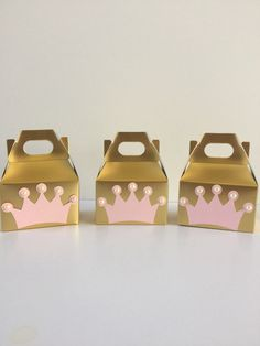 Princess party decor Princess party favor boxes by Craftytude Pink Princess Party, Princess Party Favors, Princess Theme, Princess Birthday, Princess Crowns, Pink Party Favors, Party Favor Bags, Birthday Party Favors, 1st Birthday Parties