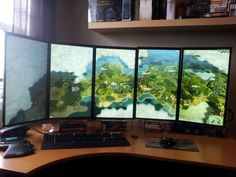 """5x 24"""" battlestation with Civ5 from /r/gamingpc ."""