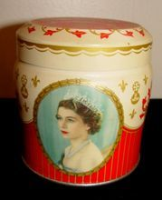 . 1953 English Coronation Souvenir Candy Tin Queen Elizabeth