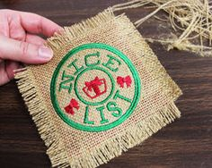 Free project tutorial for embroidered burlap coasters.