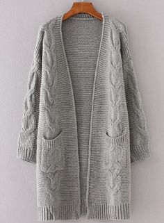 Long Sleeve Cable Knit Open front Cardigan NOVASHE.com