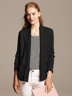 Faux-Leather Trim Open Cardigan Product Image