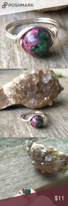 Sterling plated Ruby Zoisite stone ring handmade *Can be made in any size *hypoallergenic/Sterling plated non tarnishable wire *Natural 8mm Ruby Zoisite stone *Handmade with love ~Ruby in Zoisite amplifies spirituality, engaging the body's own energy field. Ruby in Zoisite helps you to maintain your individuality while still being part of the world around you. It keeps you from over-reacting to difficult situations and prevents mood swings.  #jewelry #ring #rings #stonejewelry #stonering…