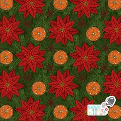 A closer look at an orange slice, pine branch, star anise, and poinsettia pattern from Northern Whimsy's Christmas Spice collection. Pine Branch, Star Anise, Surface Pattern, Poinsettia, Digital Scrapbooking, Closer, Spices, Stationery, Wallpapers
