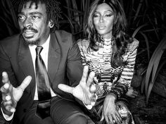 Seu Jorge with Naomi Campbell (in a TERRIBLE wig! You should see it in the other photos of this shoot!)  Vogue Brazil.