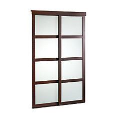 48 Inch Espresso Framed Frosted Sliding Door Shoji Doors, Hall Closet, Closet  Doors