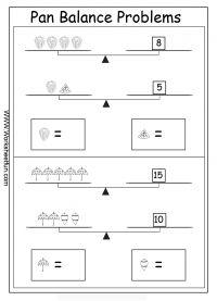 pan balance problems printable worksheets pinterest equation. Black Bedroom Furniture Sets. Home Design Ideas