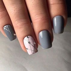 Grey and white gel manicure style – LadyStyle – Nicole S. Smith Grey and white gel manicure style – LadyStyle Grey and white gel manicure style – LadyStyle Fancy Nails, Love Nails, Pretty Nails, Fall Gel Nails, Winter Nails, Grey Nail Designs, Pedicure Designs, Nail Polish, Gel Nail Colors