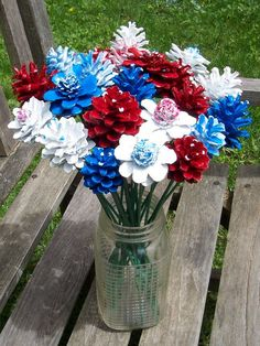 Pine Cone Flowers Painted Pine Cones on Wood Stems. One dozen Pine Cone Patriotic Crafts, July Crafts, Holiday Crafts, Diy And Crafts, Pine Cone Art, Pine Cone Crafts, Pine Cones, Fourth Of July Decor, 4th Of July Decorations